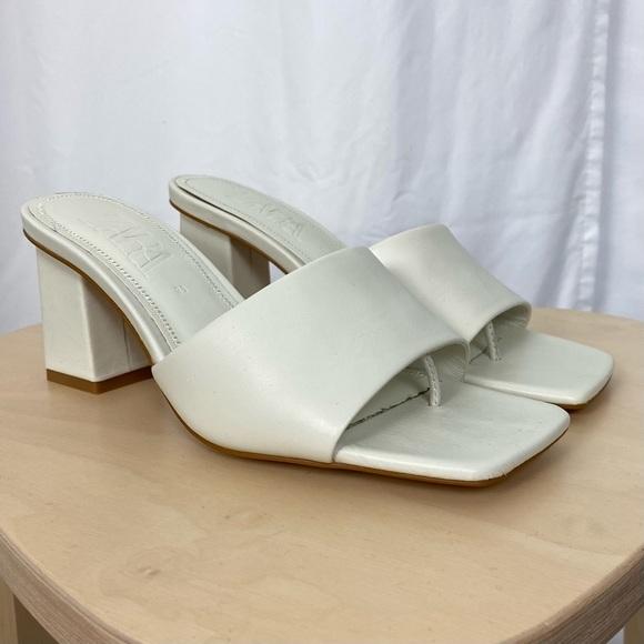 Zara White Block Heel Sandal